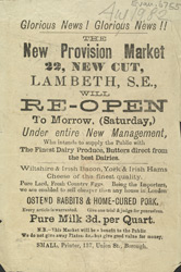 Advert for the New Provision Market, dairy produce